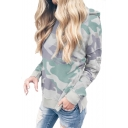 Cool Camouflage Long Sleeve Buttoned Vent Side Casual Hoodie