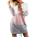 Round Neck Color Block Long Sleeve Drawstring Hem Mini A-Line Dress