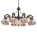 Simple Lily Motif Dome Shade Center Bowl Chandelier in Bronze Finish