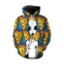 3D Pizza Ghost Pattern Long Sleeve Leisure Casual Yellow Hoodie