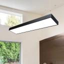 Modern Lighting Acrylic Lampshade LED Large Pendant Light Rectangular Led Chandelier in Black, 48