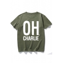 OH CHARLIE Letter Print Short Sleeve Round Neck T-Shirt