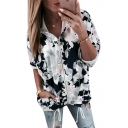Floral Print Long Sleeve Zip Closure Hooded Jacket for Woman