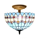 Tiffany Mediterranean Semi Flush Light Fixture with Blue Water Wave Bowl Shade