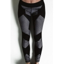 Contrast Plaid Print Elastic Waist Yoga Sports Leggings