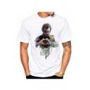 Drawing Clown Print Round Neck Short Sleeve T-Shirt