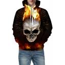 3D Fire Skull Pattern Long Sleeve Unisex Hoodie
