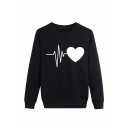 Fashion Heart Print Round Neck Long Sleeve Sweatshirt