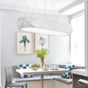 Contemporary Lighting Oval Led Hanging Light Black/White Ellipse Led Pendant Lights with Diamond Decoration 24W LED Warm White for Dining Room Kitchen