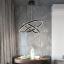 Modern Minimalist 1 Light-4 Light Suspension LED Pendant Matte Black Aluminum Circle Ring Multi Light LED Chandelier for Bathroom Dining Room Kitchen