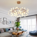 Indoor Accent Lighting Rose Gold Branch LED Chandelier Metal Ring Heracleum II LED Pendant Light with Adjustable Cord (AC100-240V)
