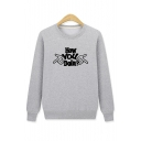 HOW YOU Letter Gesture Print Round Neck Long Sleeve Sweatshirt