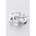 Sliver Diamante Star Moon Adjustable Layered Ring