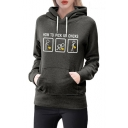 HOW TO PICK UP Letter Graphic Print Long Sleeve Hoodie