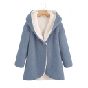 Faux Fur Plain Long Sleeve Tunic Hooded Coat for Woman