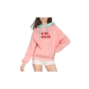 Floral GIRL POWER Letter Contrast Hood Long Sleeve Hoodie