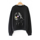 Fashion Woman Print Round Neck Long Sleeve Pullover Sweatshirt