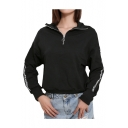 Letter Print Trim Patch Long Sleeve Stand Collar Half-Zip Sweatshirt