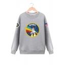 Rocket Letter Graphic Pattern Round Neck Long Sleeve Pullover Sweatshirt