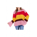 Stylish Color Block Round Neck Long Sleeve Loose Pullover Sweater