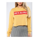 90'S BABY Letter Print Round Neck Long Sleeve Cropped Sweatshirt