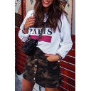 PARIS Letter Graphic Round Neck Long Sleeve Sweatshirt