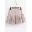Lace Up Side Plain Mini Pleated A-Line Skirt