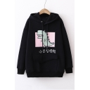 Cute Monster Japanese Print Long Sleeve Casual Hoodie