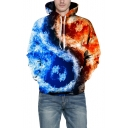 3D Color Block Fire Pattern Long Sleeve Unisex Hoodie