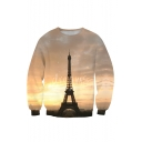 3D Eiffel Tower Pattern Long Sleeve Crewneck Pullover Sweatshirt