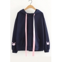 Rabbit Pattern Hood Long Sleeve Embroidered Leisure Hoodie