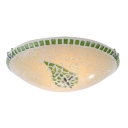 Green Leaf Mosaic Glass Design Tiffany Style Flushmount Ceiling Fixture 11.81