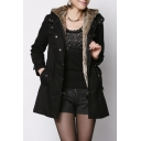 Winter Collection Long Sleeve Plain Zip Placket Parka Coat for Woman