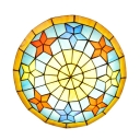 Mediterranean Style Star Motif Kids Room Flush Mount Light with Tiffany Stained Glass Shade, 2 Sizes