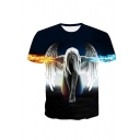 Angel Fire Print Round Neck Short Sleeve T-Shirt