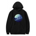 Christmas Moon Deer Print Long Sleeve Leisure Unisex Hoodie