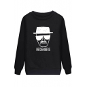 Glasses Character Letter Print Round Neck Long Sleeve Sweatshirt