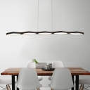 Super Thin Long Chandeliers White/Black 5 Light Metal Linear Pendant Light 31-40W 45.28