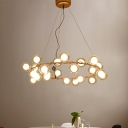 Accent Lights Clear Glass Sphere Chandelier Gold Finish 30.71
