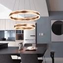 Post Modern Brown Round Chandelier Multi Ring 1 Light/2 Light/3 Light 3300K/6500K Warm White Brushed Aluminum LED Geometric Chandelier for Kitchen Dining Table Foyer