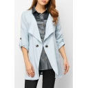 Lapel Collar Long Sleeve Button Front Plain Trench Coat