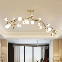 High Style Static Clear Glass LED Ball Chandelier Light Fixture 59.06