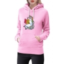 Book Unicorn Print Long Sleeve Casual Hoodie