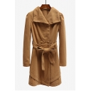 Lapel Collar Plain Double Breasted Long Sleeve Tie Waist Tunic Woolen Coat