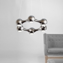 Polished Chrome/Black Metal Ball LED Chandelier 10.24