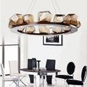 Indoor Decorative Lights Smoke Glass Gem Bezel LED Chandelier Post Modern Multi Light Round Crystal Chandelieras in Brown for Restaurant Cafe Bar Stores