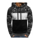 Menswear Color Block Camouflage Print Long Sleeve Slim Hoodie