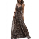 Spaghetti Straps Sleeveless Leopard Print Maxi Cami Dress