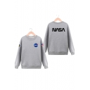 NASA Letter Graphic Pattern Long Sleeve Round Neck Pullover Unisex Sweatshirt