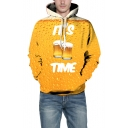 3D IT'S TIME Letter Beer Print Long Sleeve Loose Hoodie